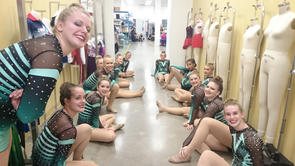 The Line Up behind the scenes of the 25 year anniversary video, Ashwaubenon Dance Team 2015