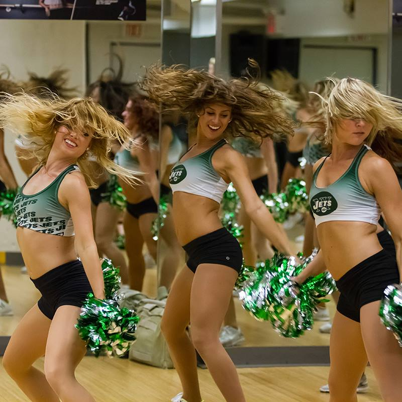 New York Jets flight crew,cheerleaders,  The Line Up, sublimated practice top