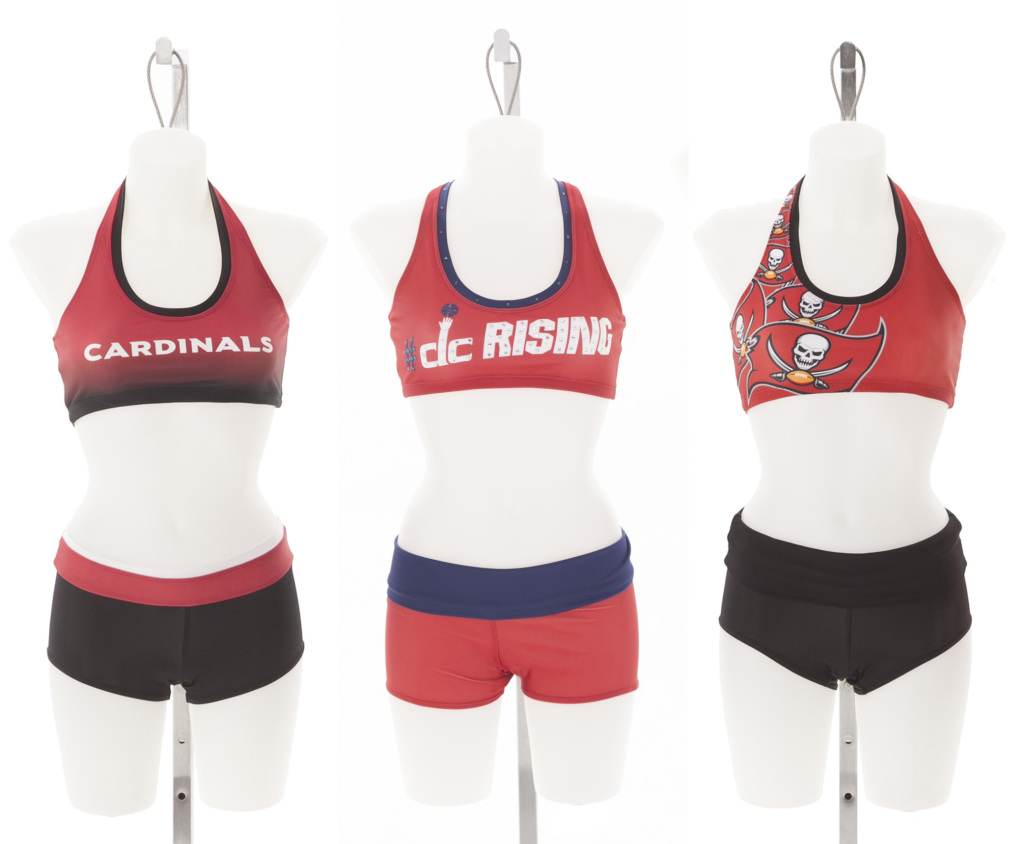practice tops for Arizona Cardinals cheerleaders, Washington Wizards Dancers, Tampa Bay Buccaneers cheerleaders, The Line Up