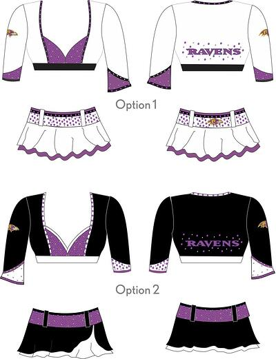 Prototype options for Baltimore Ravens Cheerleaders 2015 uniforms, The Line Up