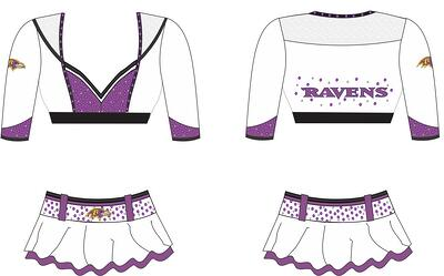 Final design for the Baltimore Ravens cheerleaders uniforms, The Line Up