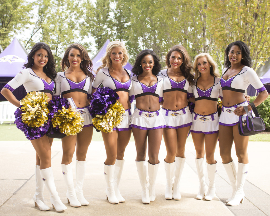 Baltimore Ravens Cheerleaders in new white 2015 uniform, The Line Up