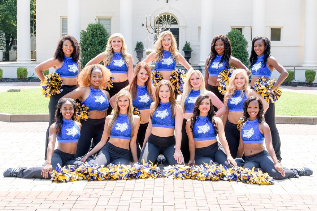 Limestone College dance team, 2015 blue uniforms