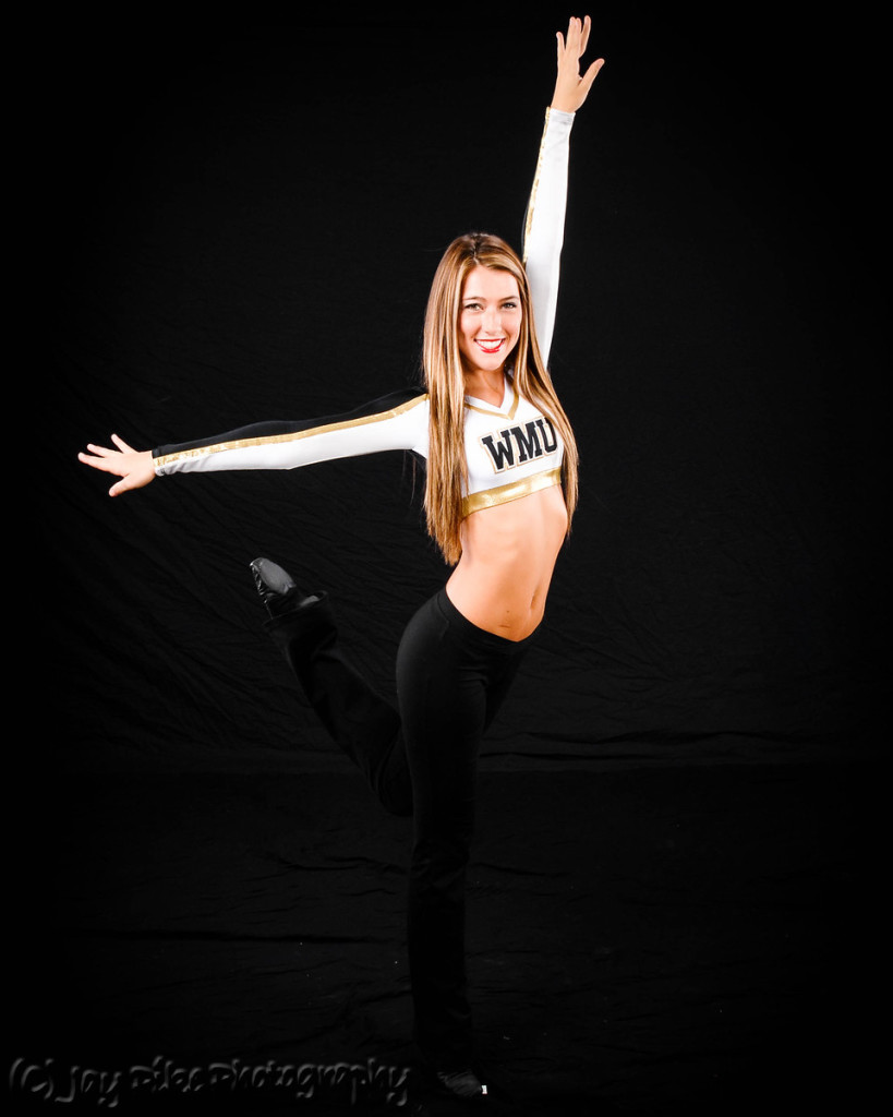 Western Michigan University Dance team white, black and gold uniforms, The Line Up