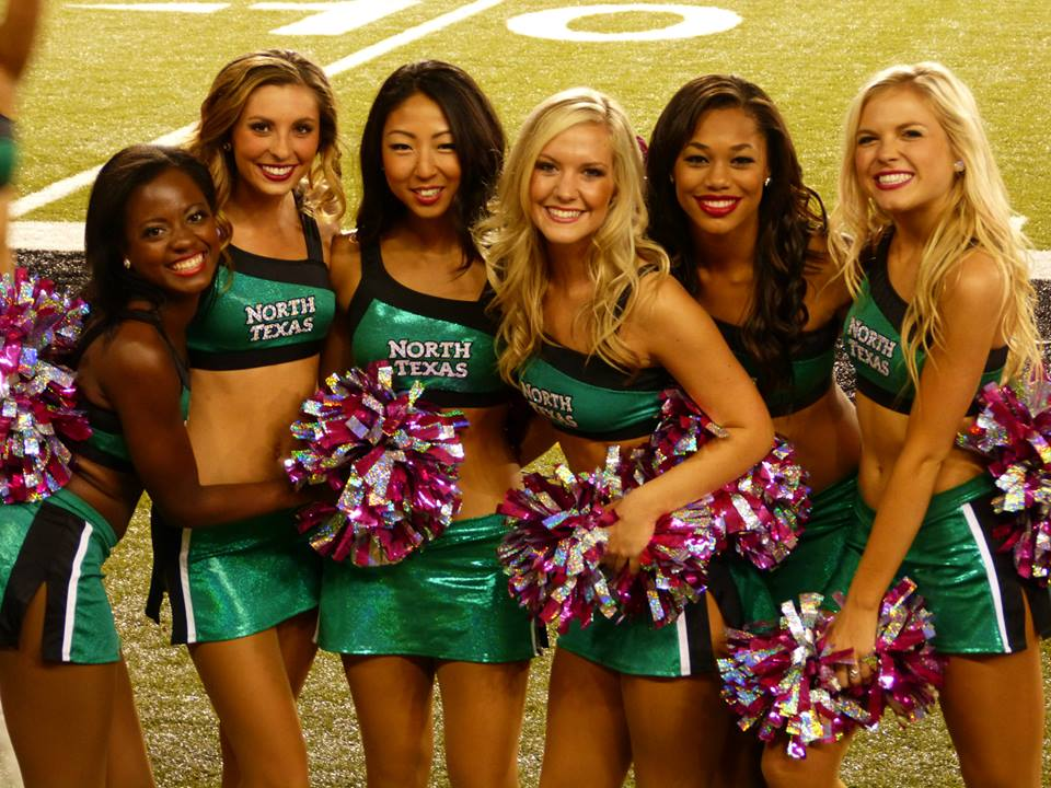 University of North Texas Dance team, two piece green uniforms, The Line Up