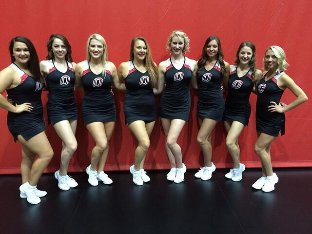 University of Nebraska Omaha Dance Team, black dress uniforms, The Line Up