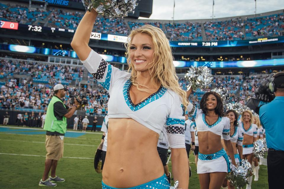 Carolina Panthers Cheerleaders Topcats uniform white with rhinestones