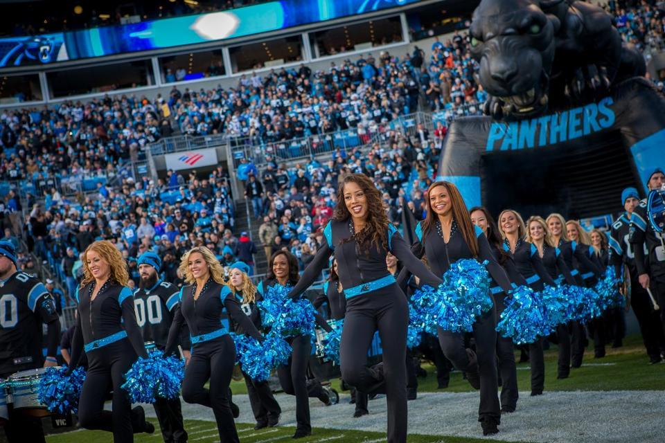 Black Catsuit Carolina Panthers Cheerleaders Topcats uniform