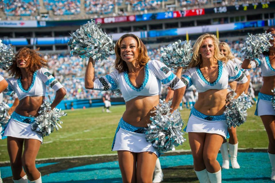 White Carolina Panthers Cheerleaders Topcats uniform