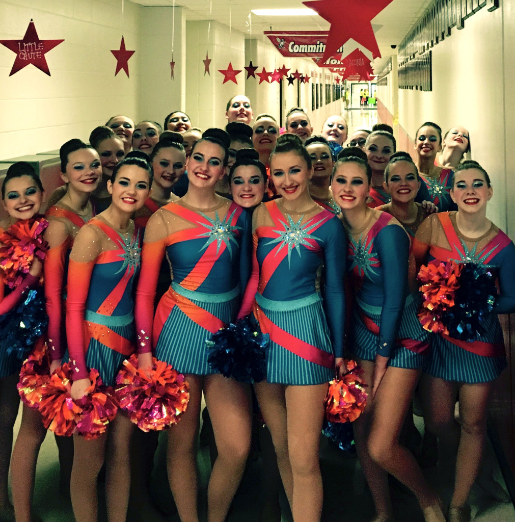 waupaca pom, bright blue, orange and pink costume, 2016