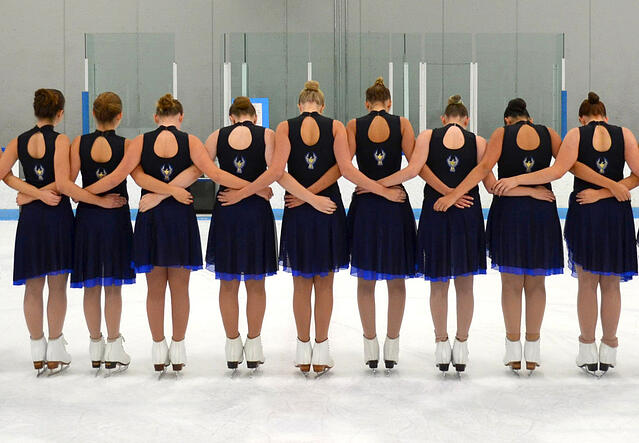 Synchronized skating leotard and skirt, practice wear, Phoenix Synchro team