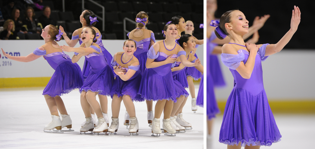 custom purple princess dresses, The Line Up, 2015 synchro nationals, synchronized skating, Team Delaware, juvenile