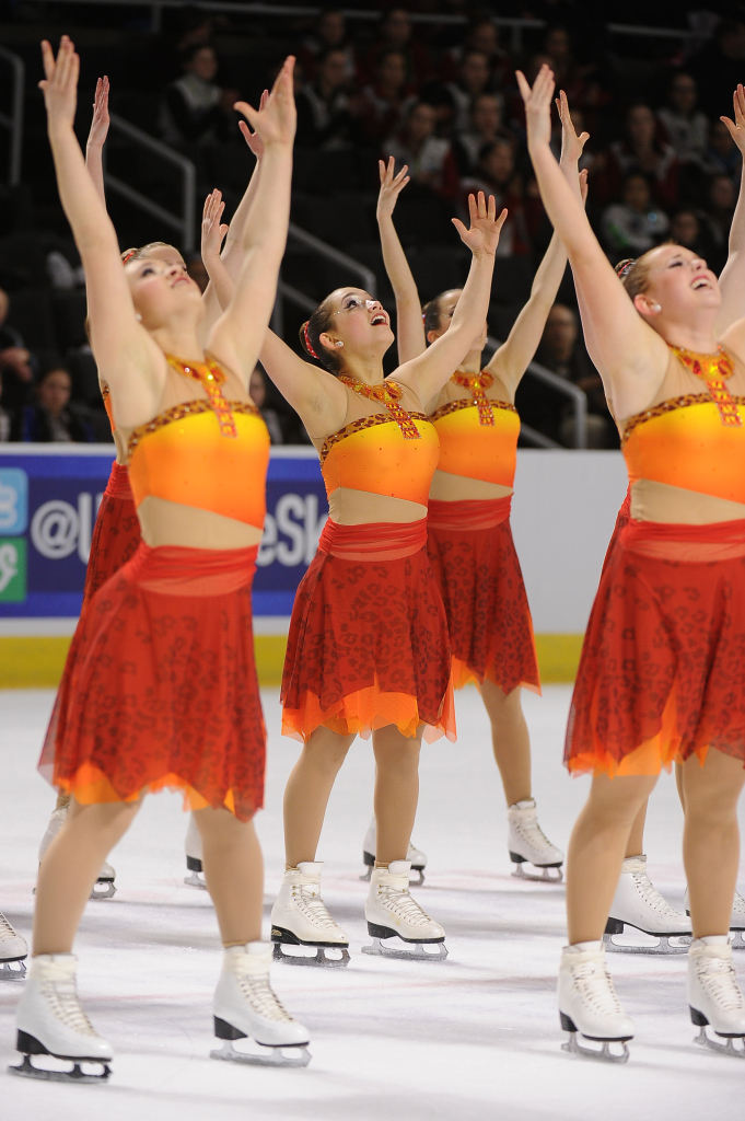 Synchronized Skating Nationals 2015, The Line Up, custom dresses, lion king theme, cheetah print, sunset ombre,  Saint Louis Synergy JR