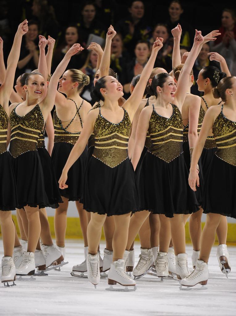 Synchronized Skating Nationals 2015, The Line Up, custom dresses, black and gold, Hockettes Junior Short