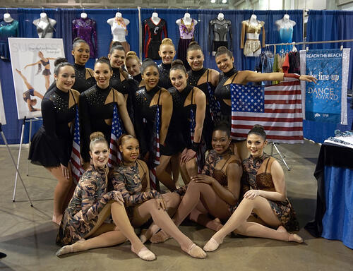 South Jersey Storm dancers, flag costume, katy perry, military inspired, EPIC, Reach the Beach, 2015