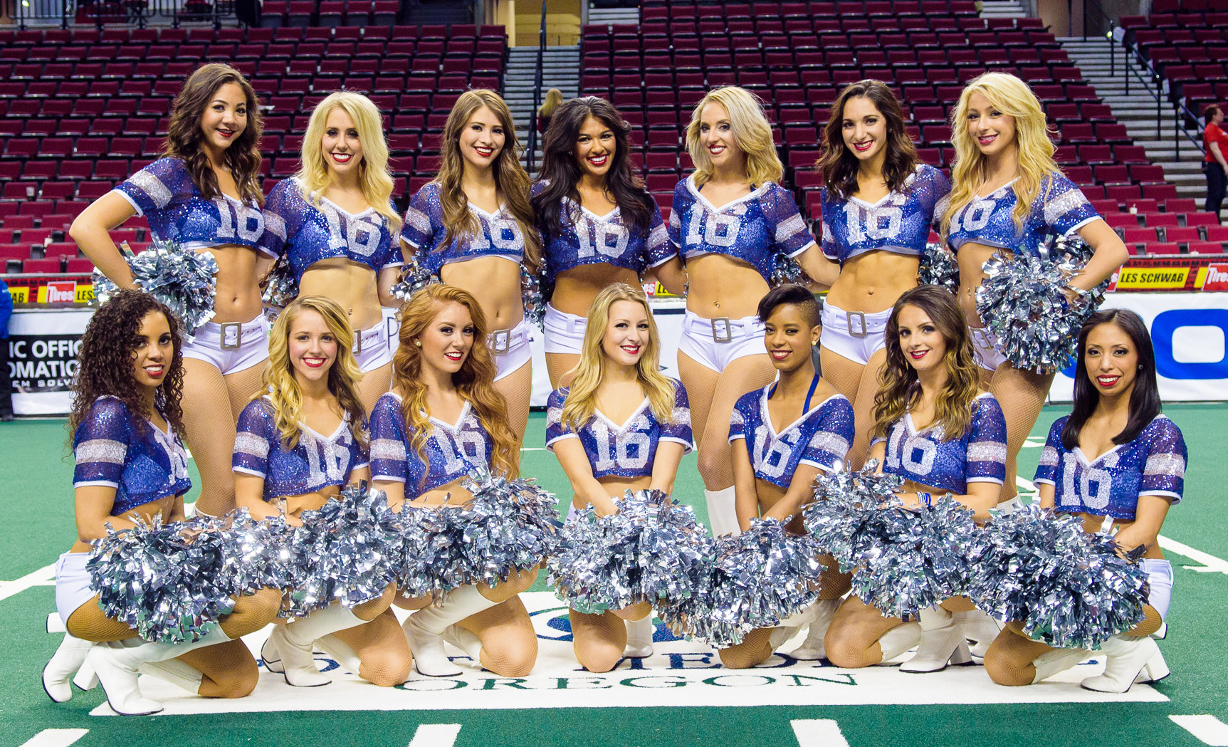 Portland Steel Cheerleaders wearing custom made sparkle jersey