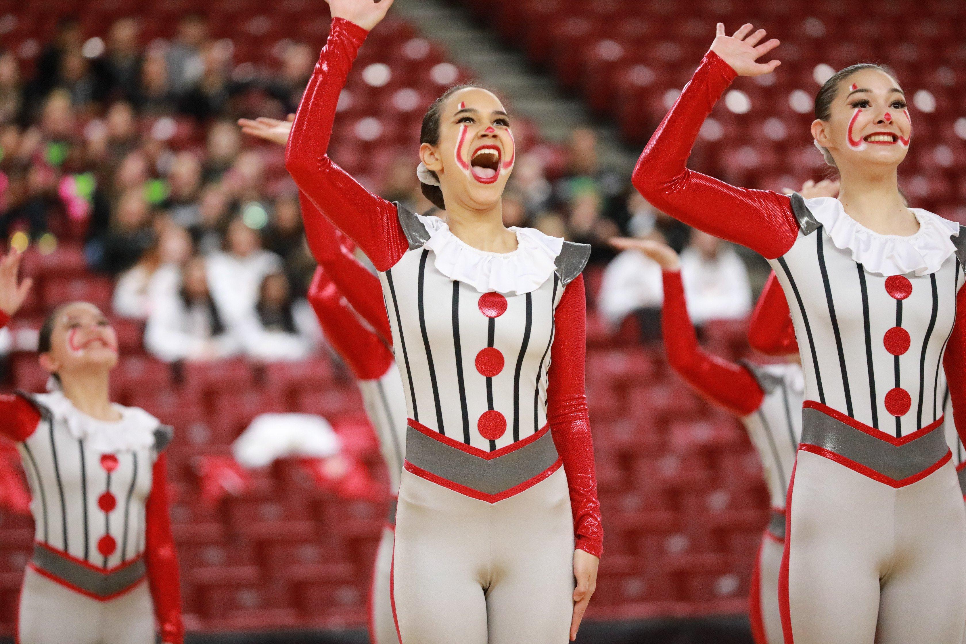 Bellevue dance team Clown themed kick costume