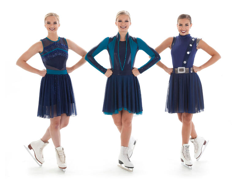 synchronized skate dresses with belts & a high waist