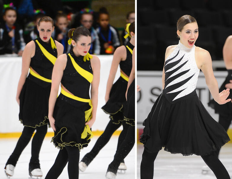 synchronized skate dresses with black tights