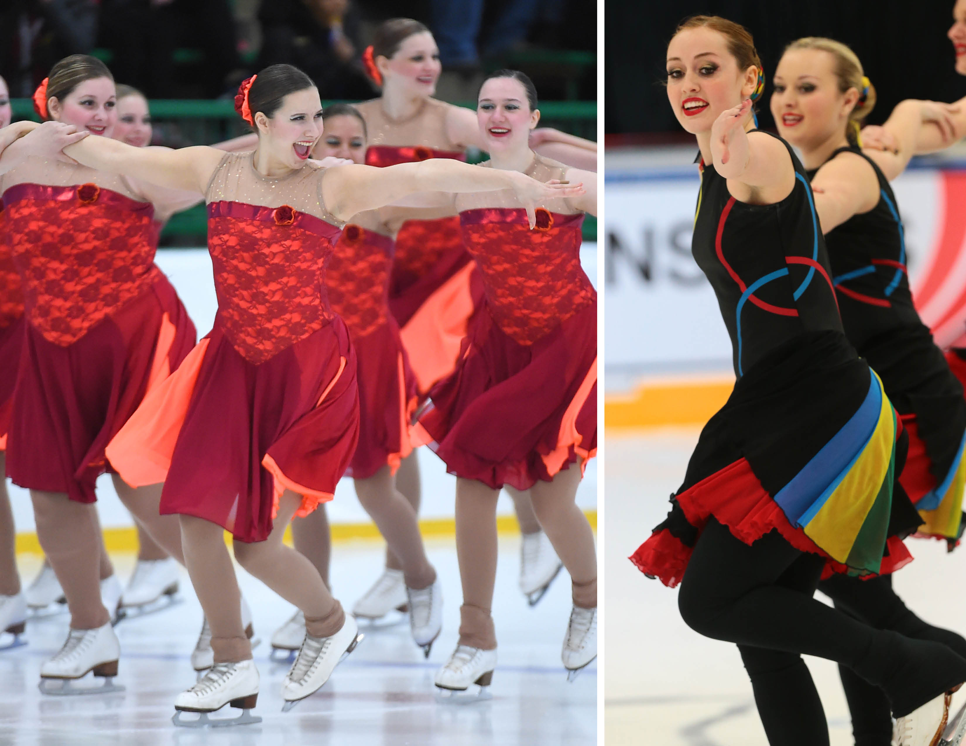 Syncrhonized skate dresses with color in skirt