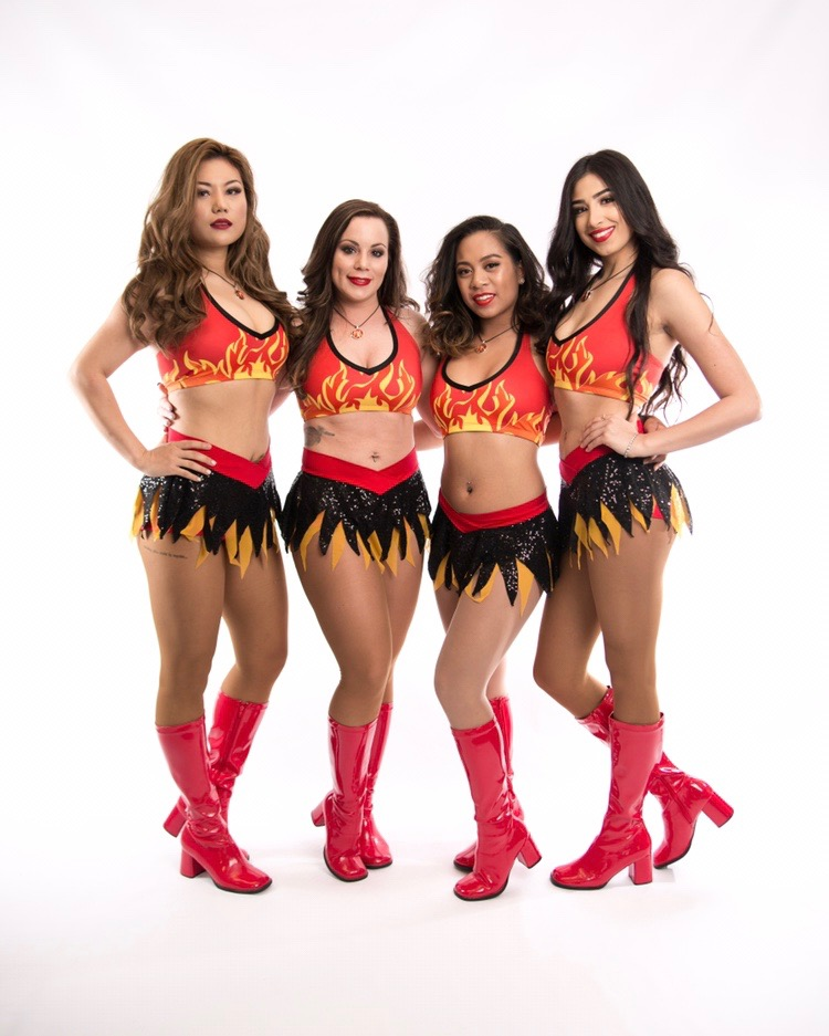 Hunnies Cheerleaders in their new fiery uniforms!