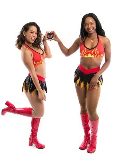 Hunnies Cheerleaders in their new fiery uniforms!