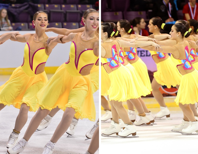 Synchronized skate dress with nude illusion