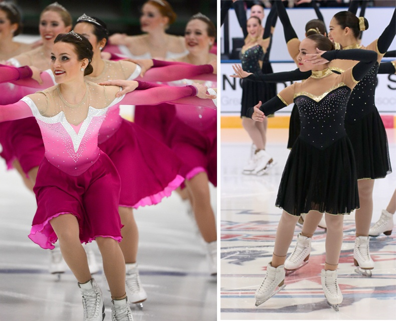 Synchronized skate dresses with rhinestones
