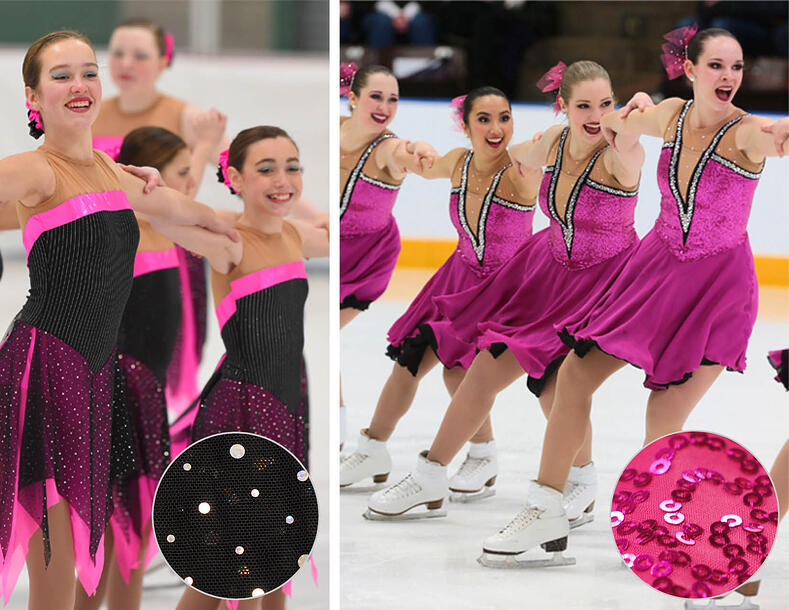 Synchronized skating dresses with sequins