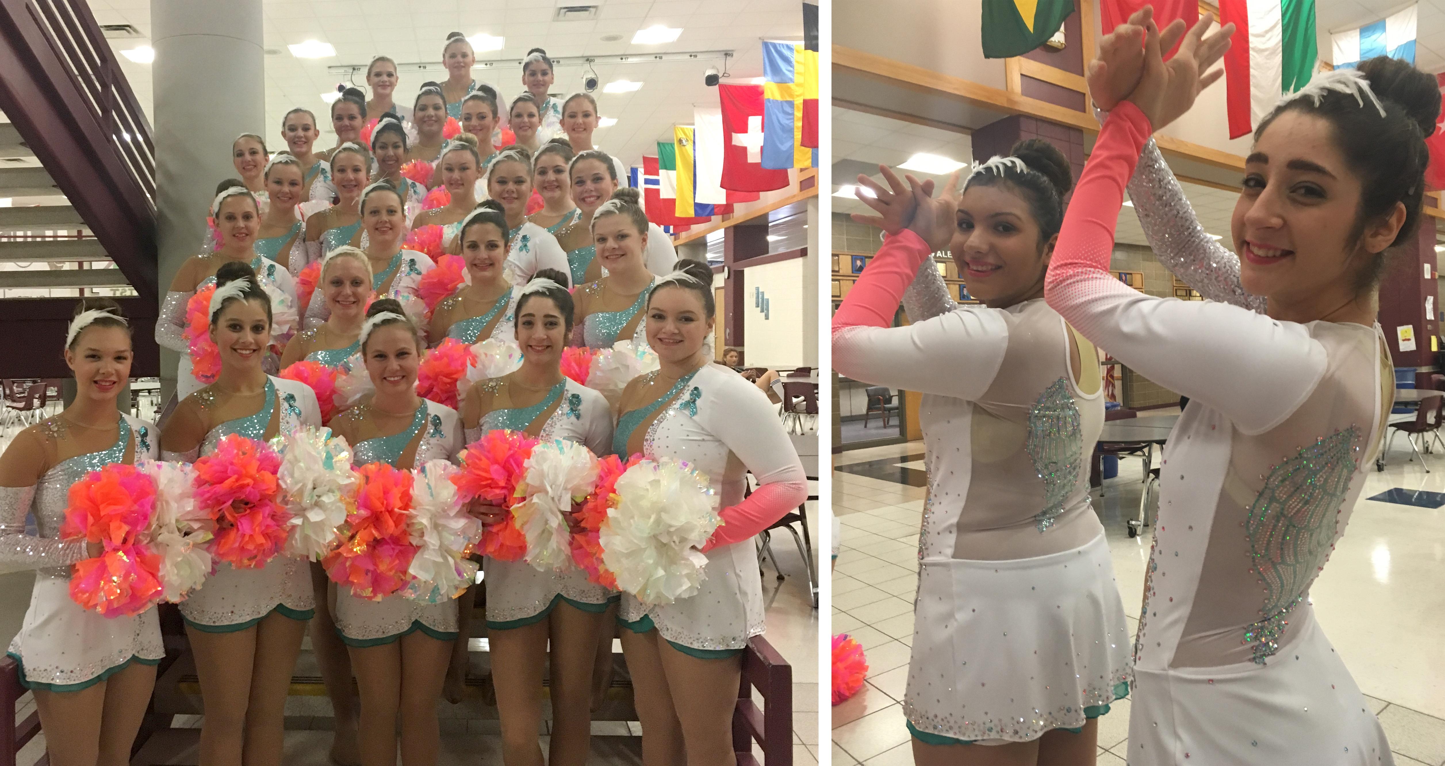 Watertown blue Revue dance team custom pom uniforms