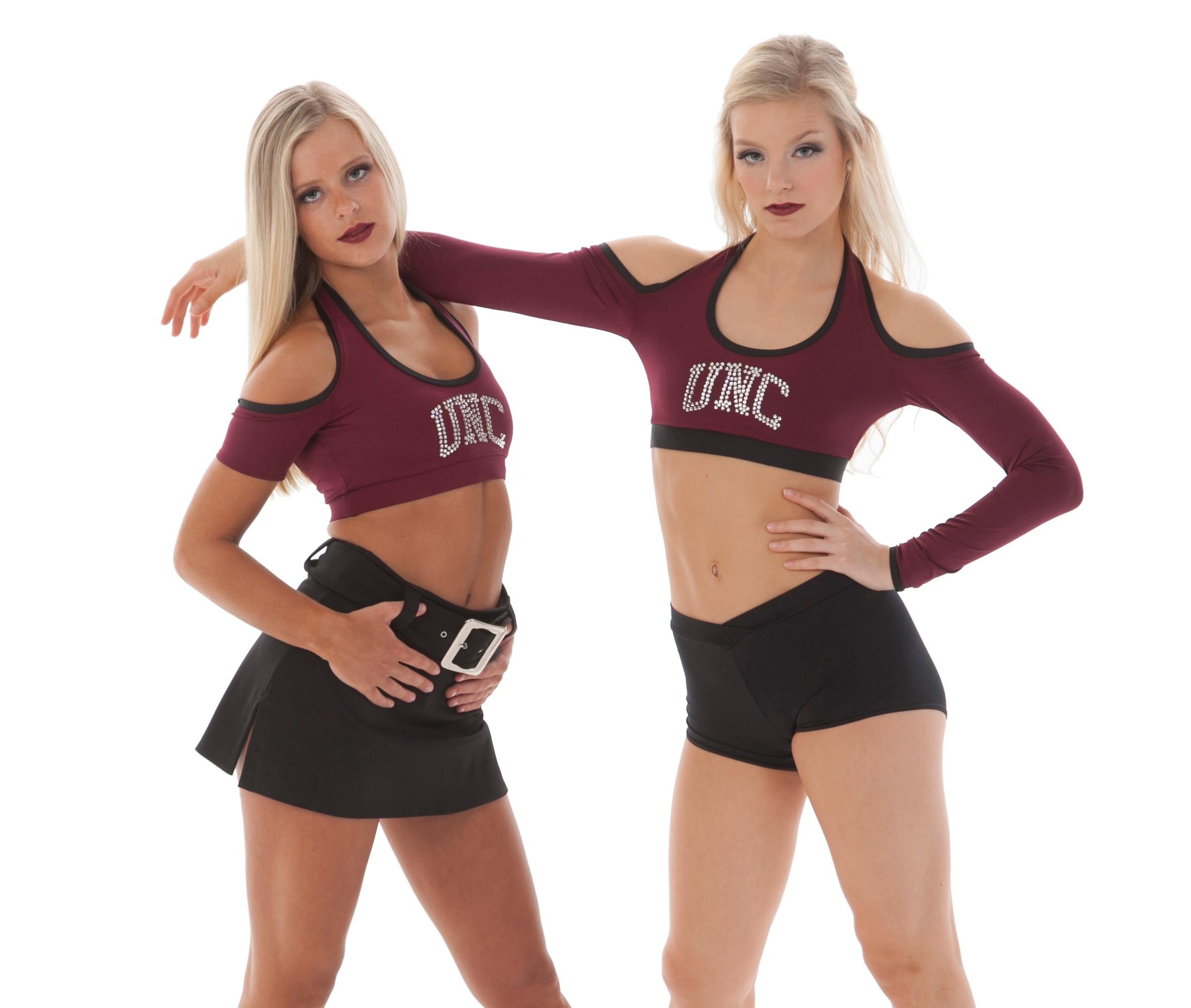 Cheer uniform trend: cold shoulder