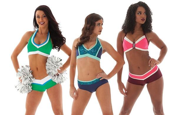 Custom Pro cheer audition apparel using bright colors