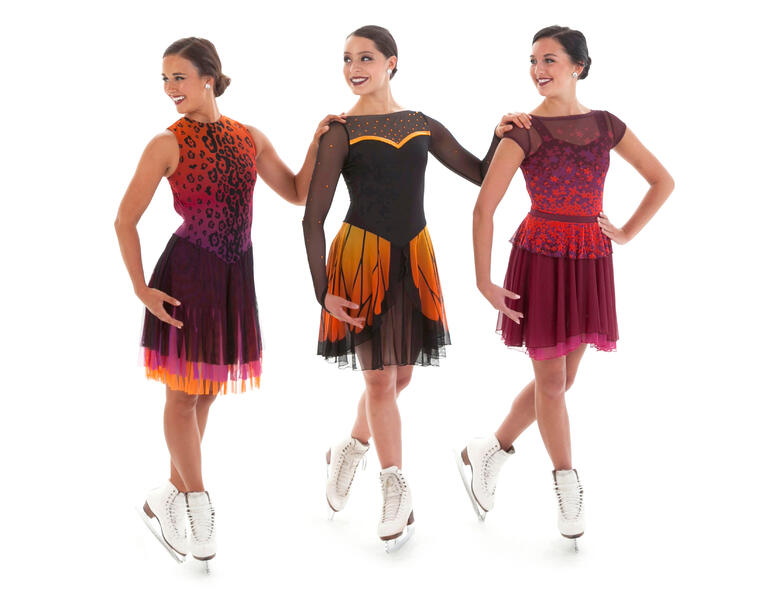 Sublimated synchronized skating dresses by The Line Up