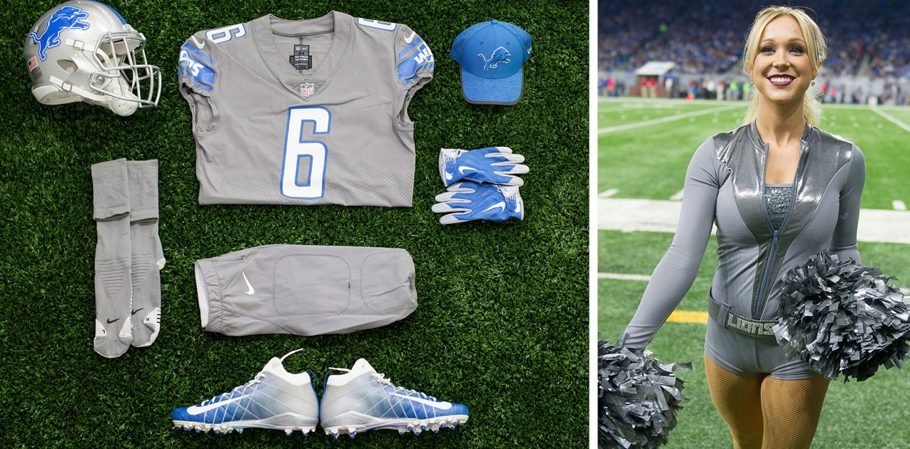 Detroit Lions Cheerleaders Color Rush Uniforms