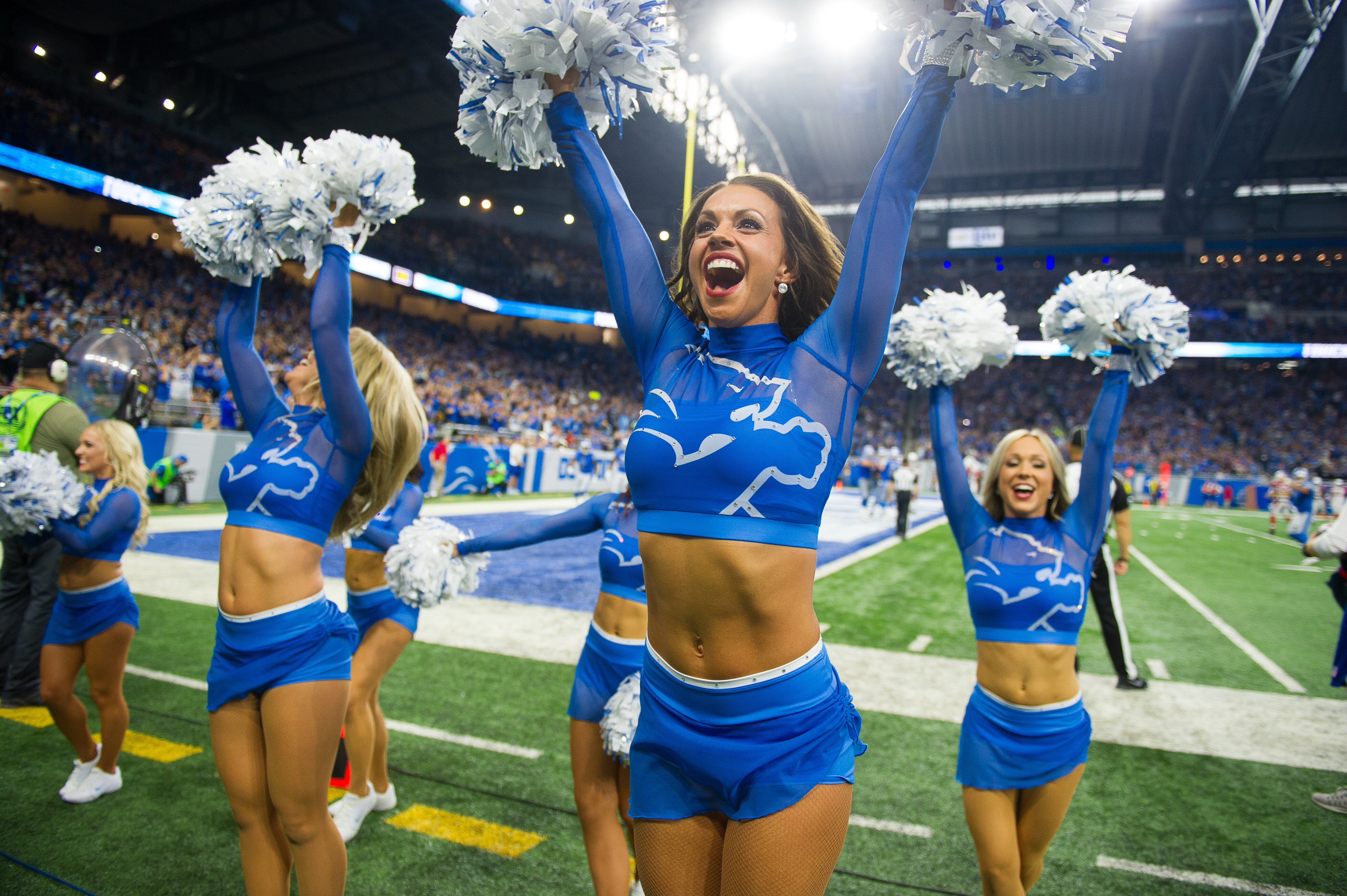 Detroit Lions Cheerleaders Blue Uniforms