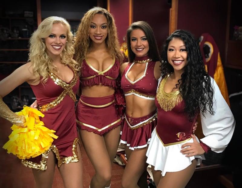 Washington Redskins Cheerleaders throwback uniforms