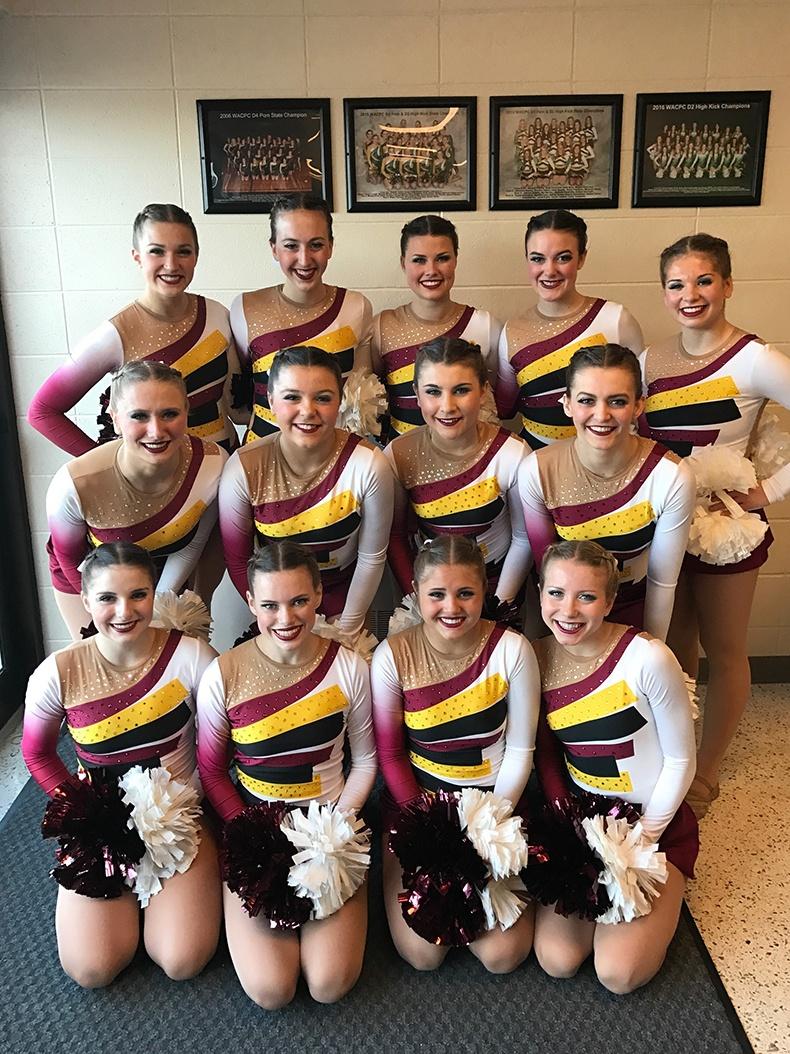 Prescott HS Dance Team in 2016 Pom Dance uniform cheer uniform
