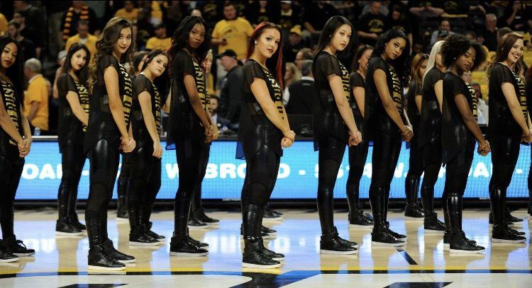 gold rush dancers in mesh top
