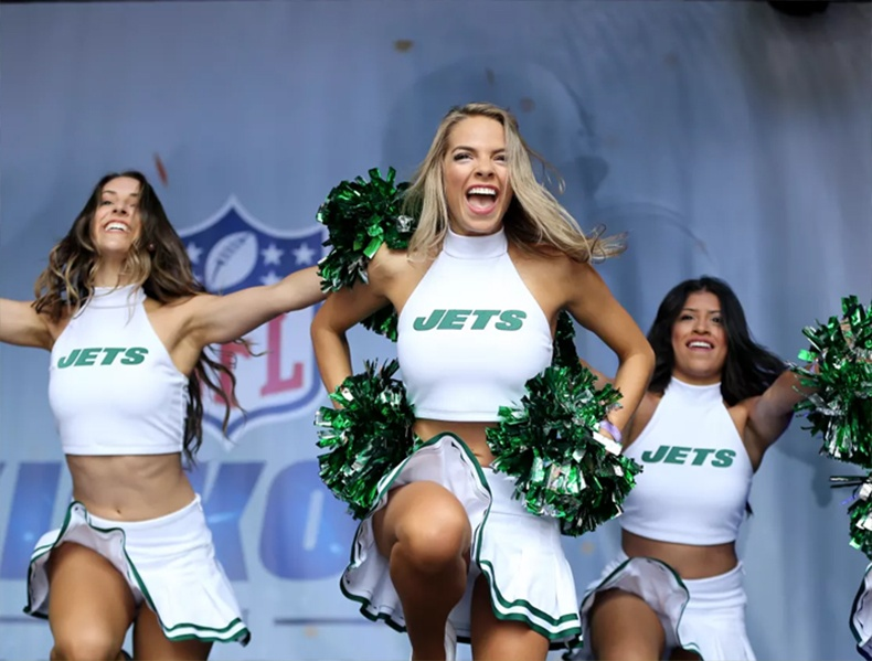 New York Jets Flight Crew throwback look