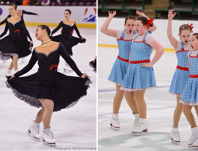 Synchronized skating dresses with accessories