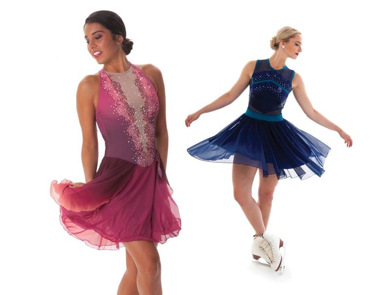 Layered skirts for synchronized skate dresses