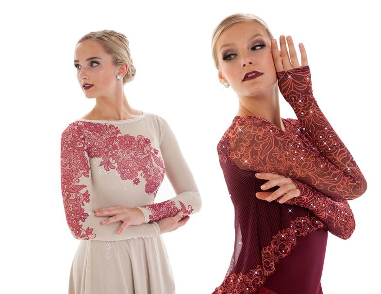 Mesh lace synchronized skating dresses