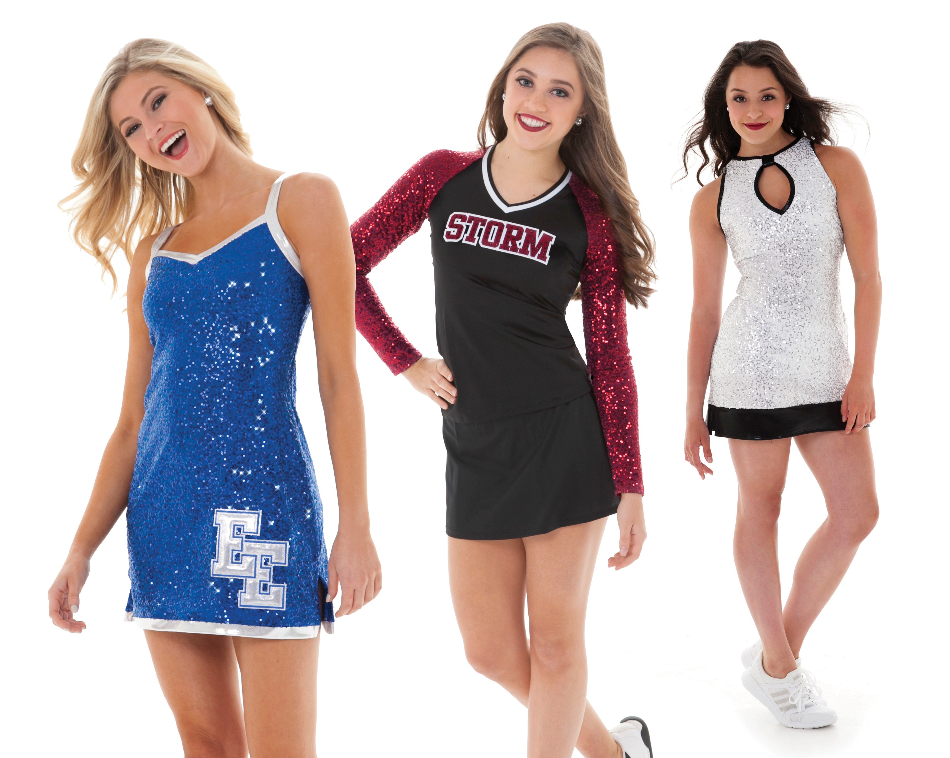 cheer and pom uniform trends: bling