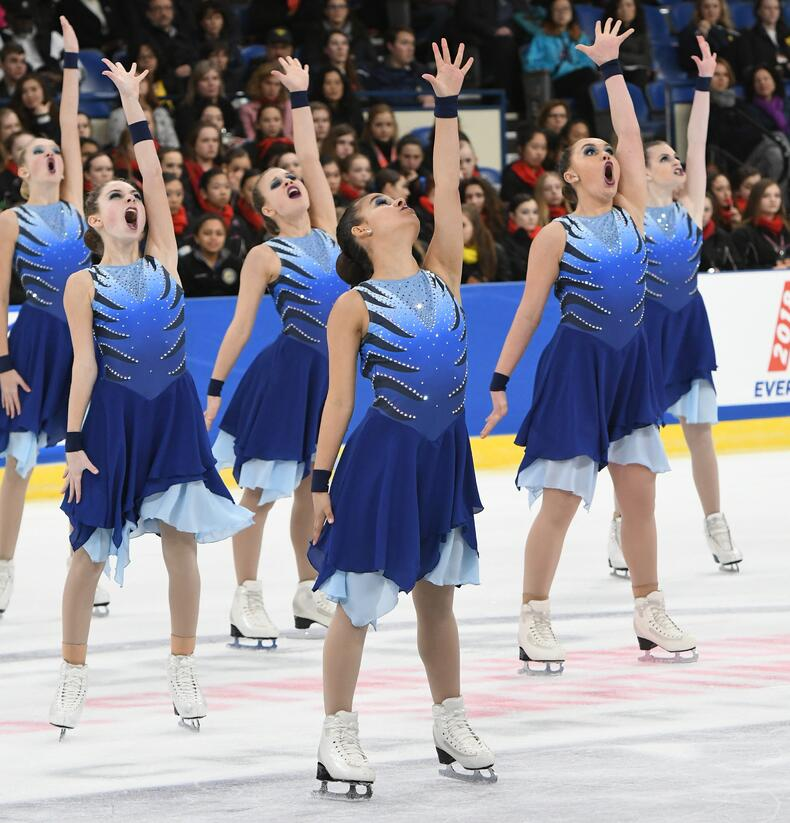 team delaware's cusom themed synchronized skating dresses