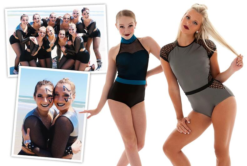 Custom jazz costume for Miami University Dance Team and edgy dance leotards.
