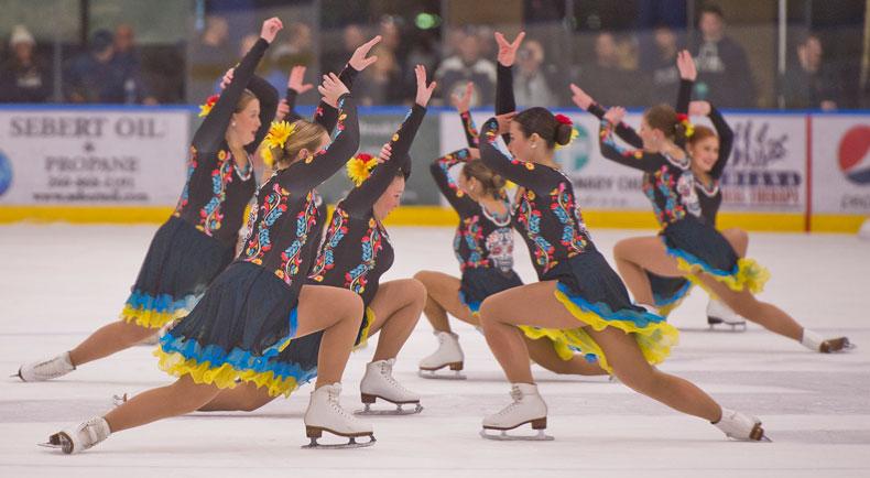 Trine University Varsity Synchronized Skating Team in action