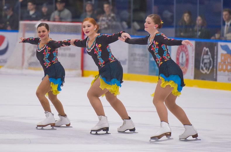 Trine University Varsity Synchronized Skating Team performing