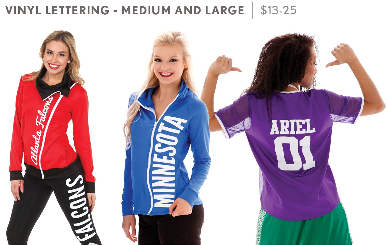 Vinyl lettering on cheer uniforms and team warm-ups