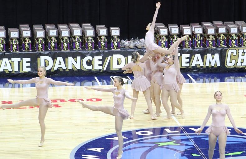 iowa city regina dance team at iowa state competition