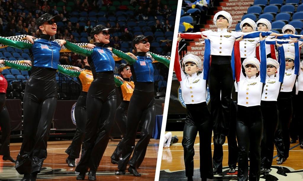 Aitkin High School Dance Team wearing their custom high kick dance costumes